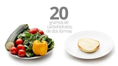 20 gramos de carbohidratos en verduras y en pan