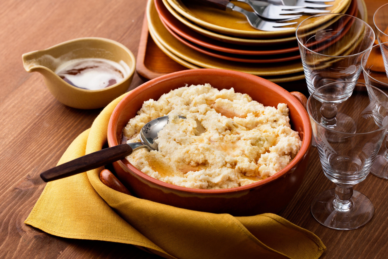 Puré de coliflor con mantequilla dorada