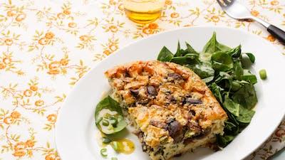 Frittata con champiñones y queso