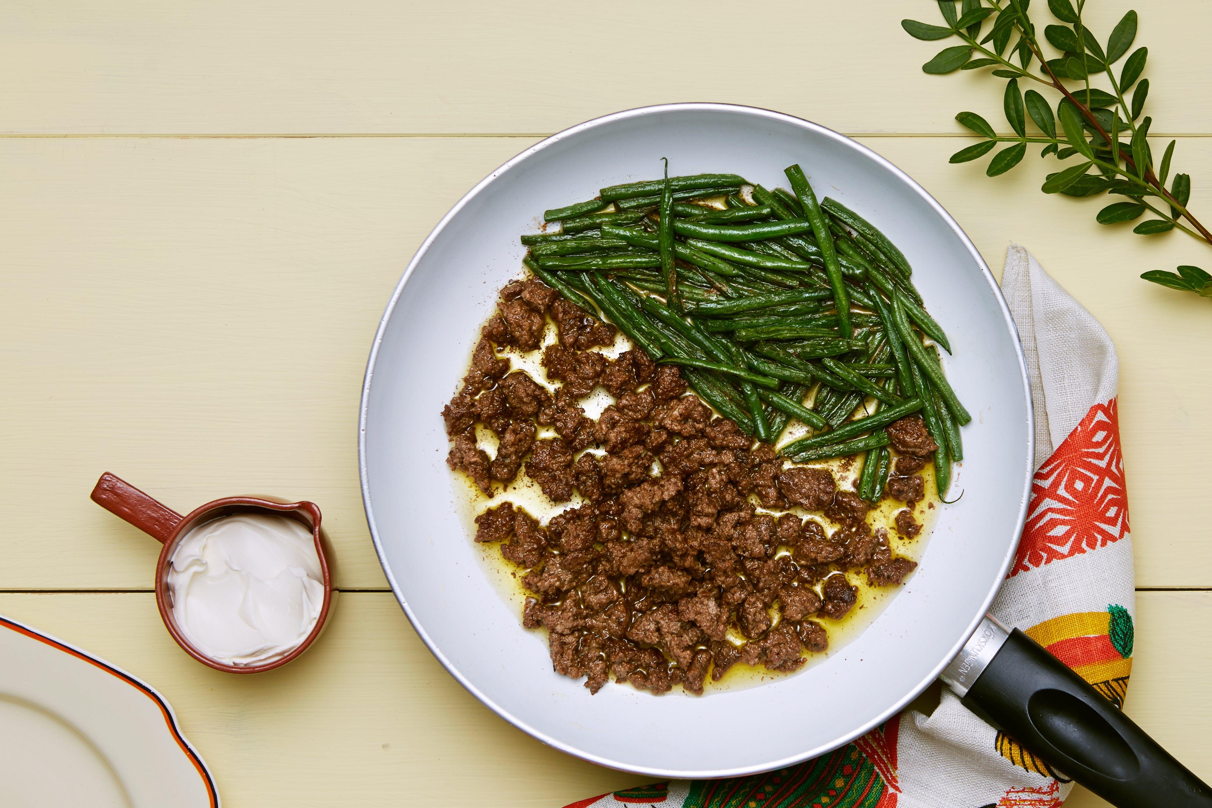 Carne molida keto con ejotes verdes
