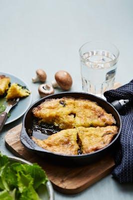 Frittata de queso cabra y champiñones (Desayuno)