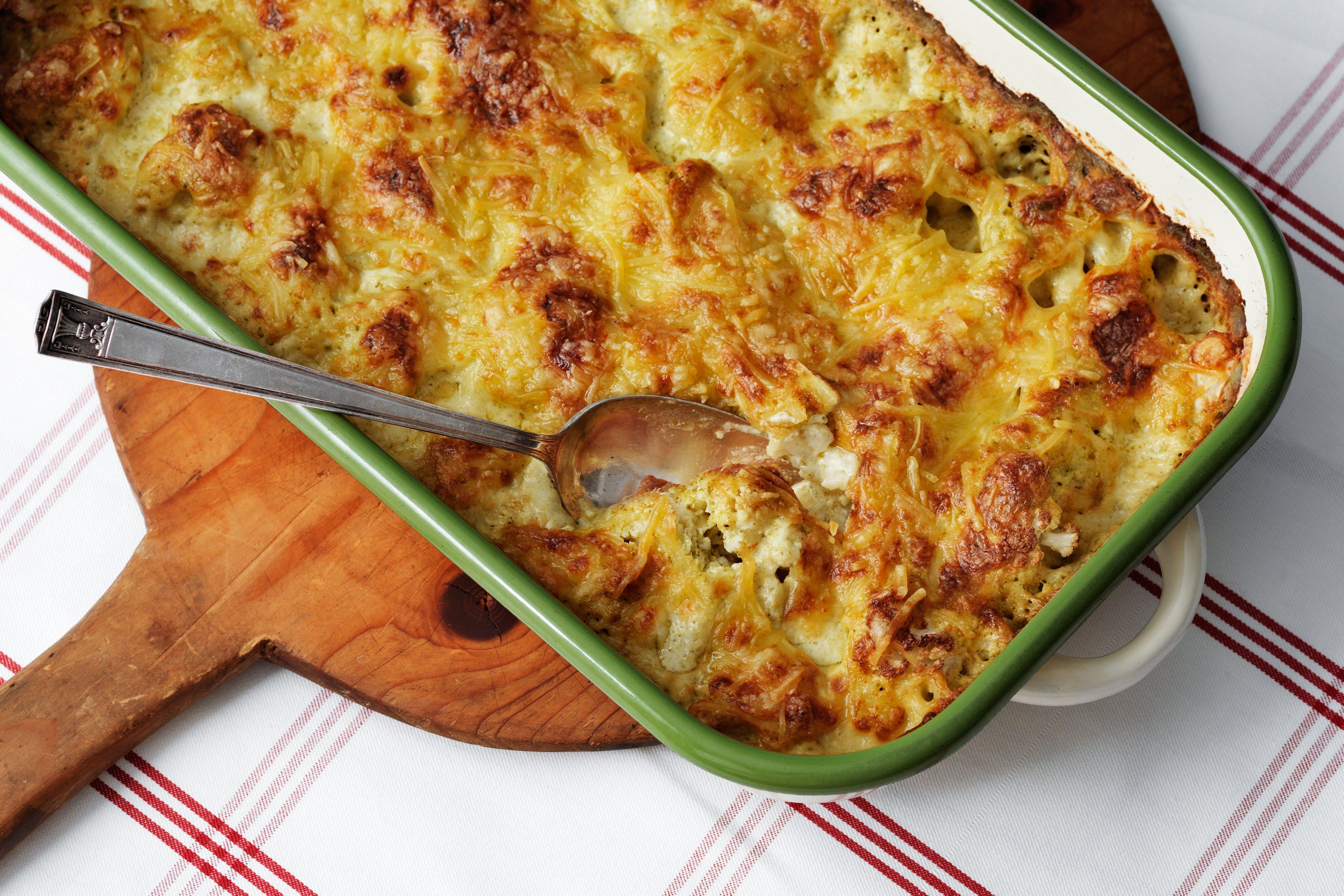 Coliflor con queso baja en carbohidratos