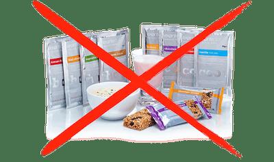 Sin reemplazos alimenticios u otros alimentos falsos