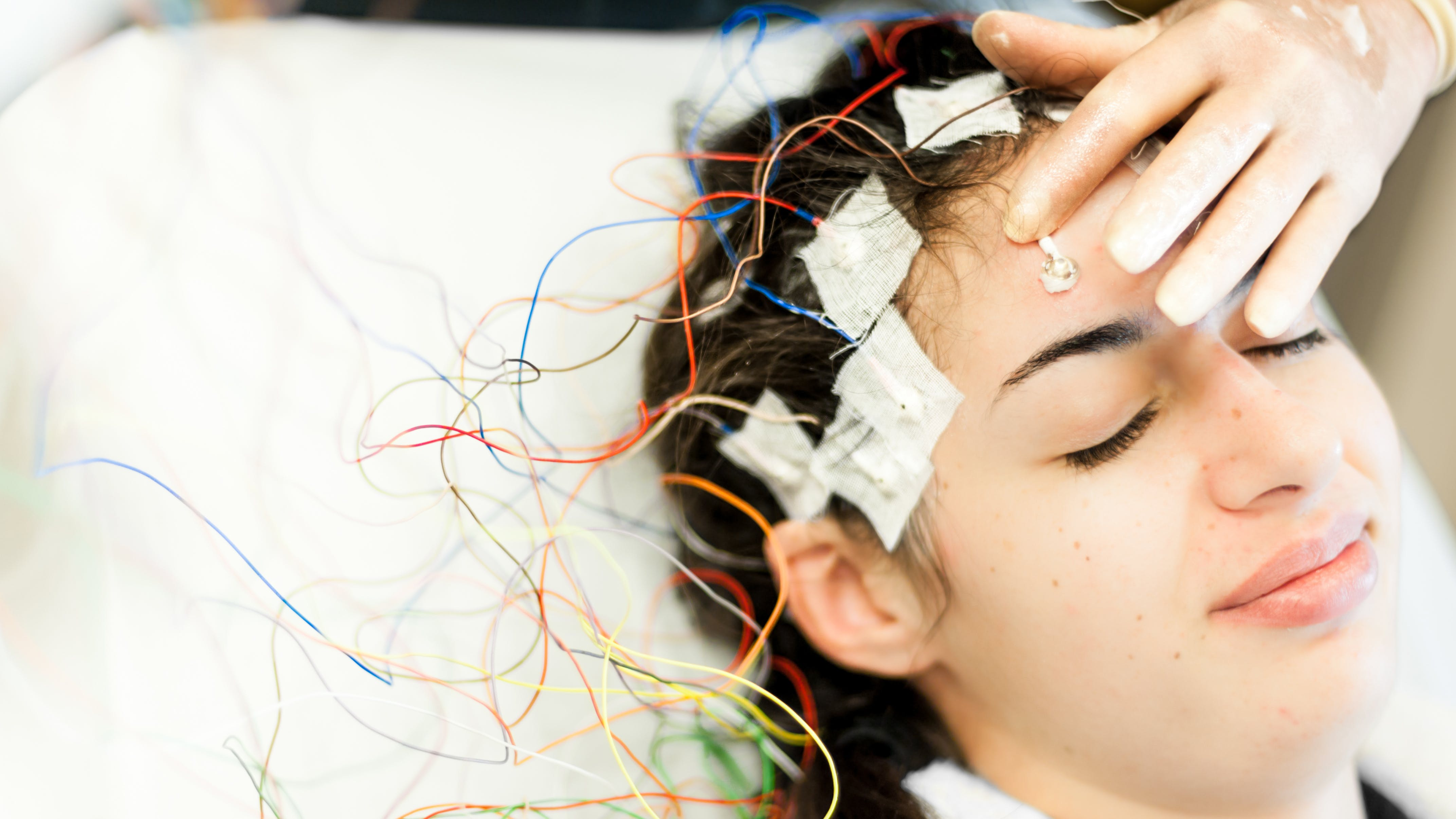 Young woman having an eeg test
