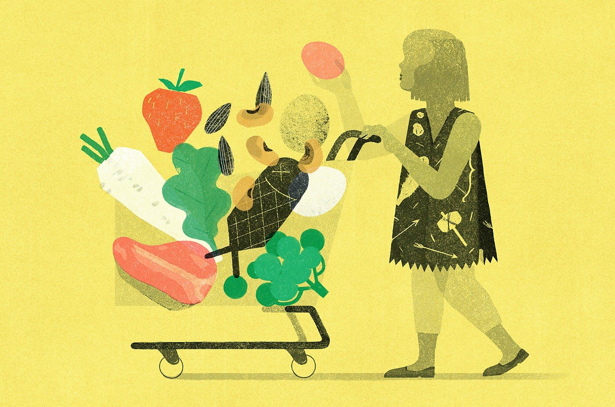 Dibujo de mujer con carrito