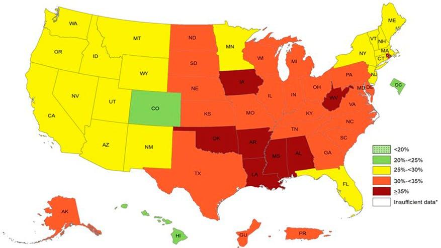Siete estados tienen tasas de obesidad por encima de 35 % en EE. UU.