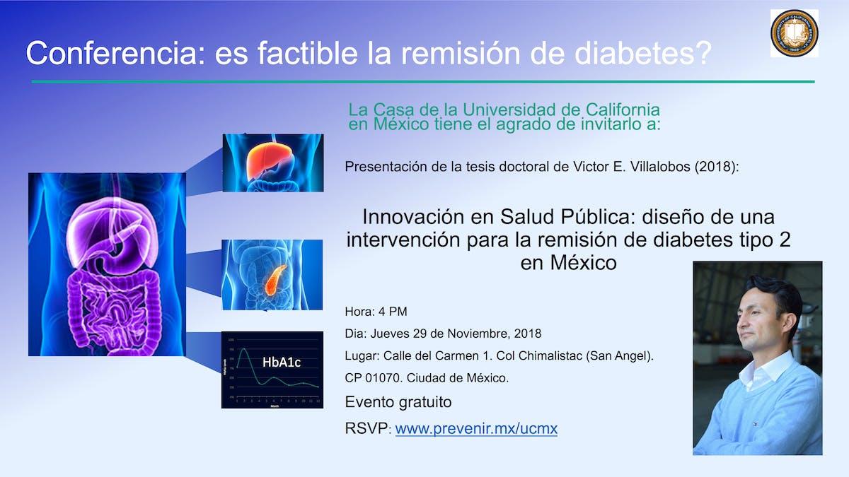 ¿Es factible la remisión de diabetes? Evento gratuito en Ciudad de México