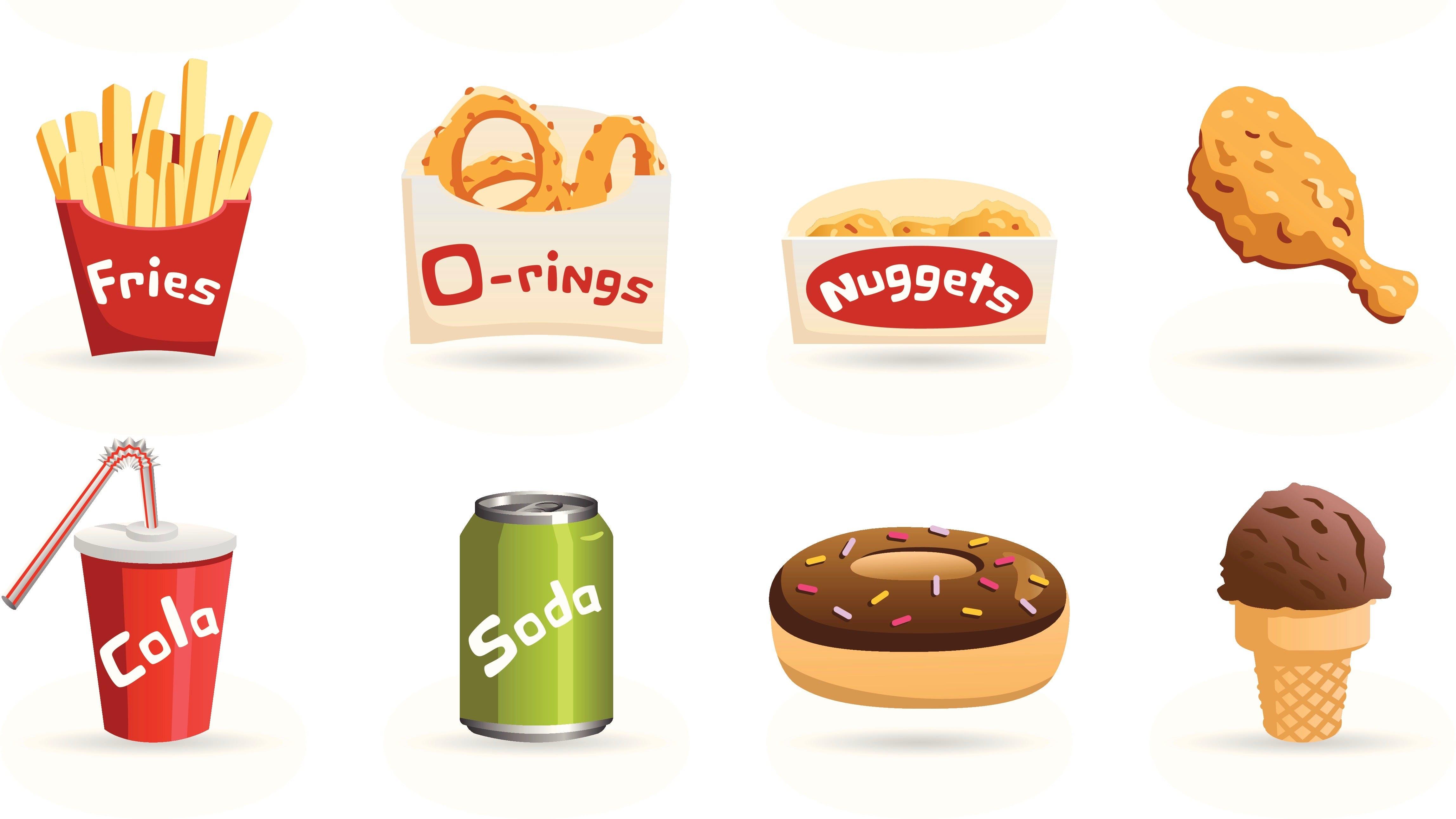 Iconos de comida chatarra