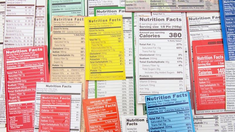 Collage de etiquetas nutricionales