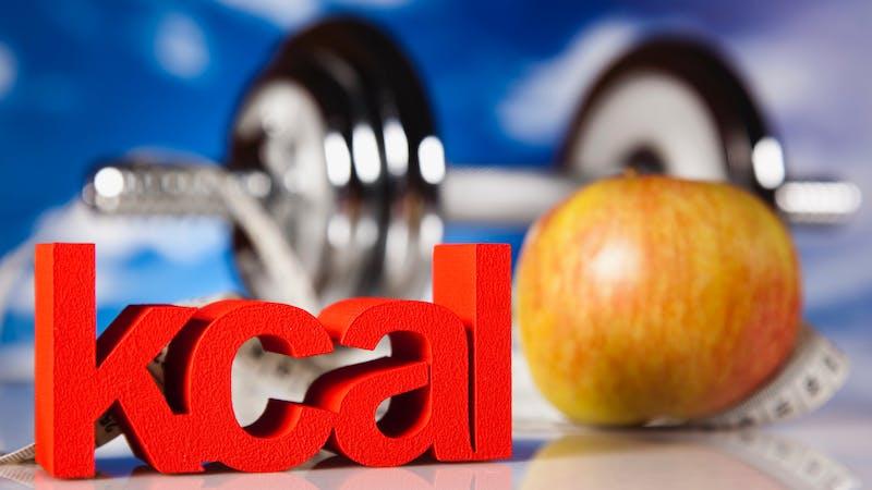 Kcal, manzana y pesas