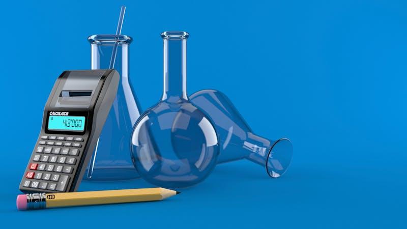 Frascos de química y calculadora