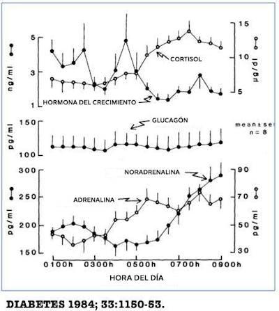 diabetes tipo 1 insulina y gráfico de glucosa