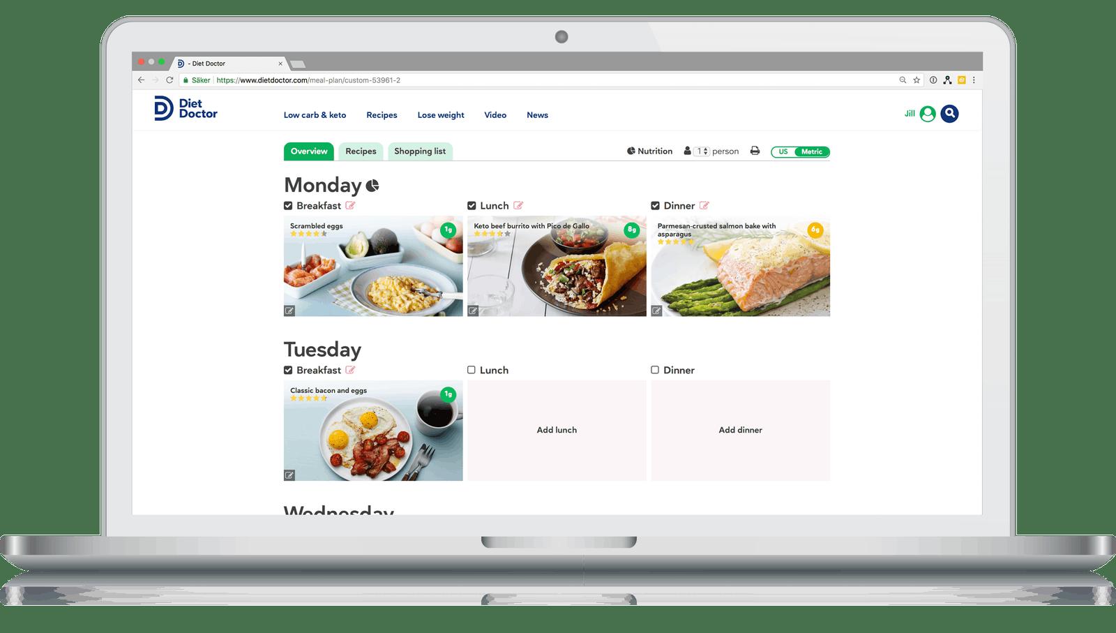 Planificador de comidas para la dieta keto