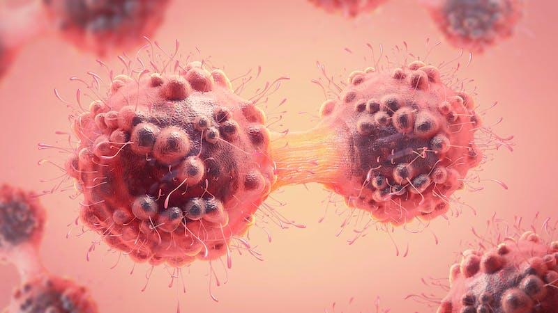 Ilustración 3d de una célula cancerosa en el proceso de mitosis