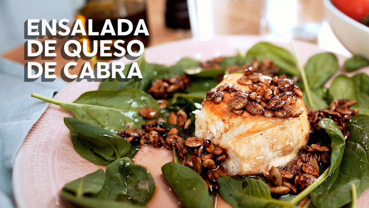 Ensalada de queso de cabra, receta en video