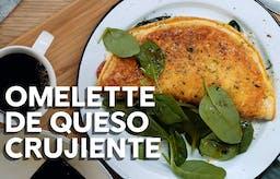 Omelette de queso crujiente, receta en vídeo