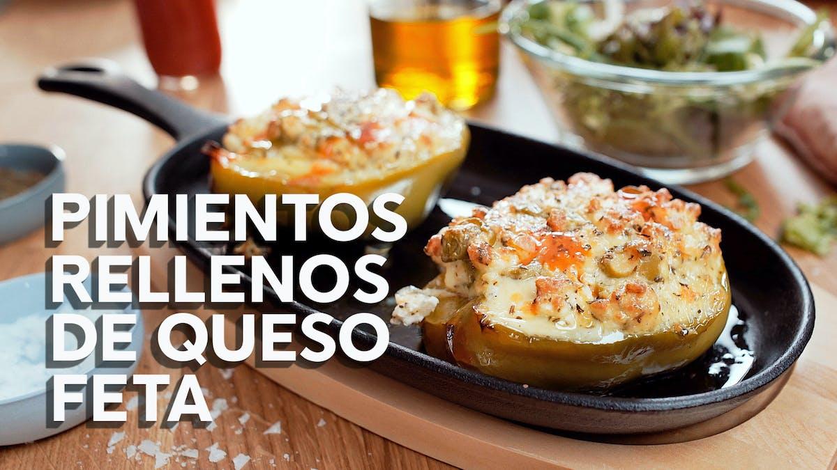 Pimientos rellenos de queso feta, receta en video