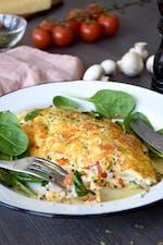 Omelette keto de queso crujiente