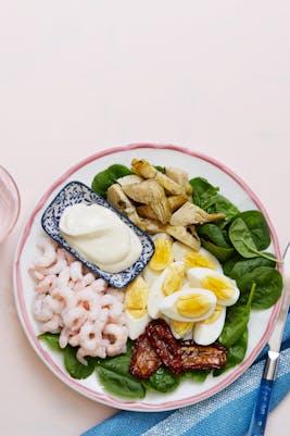 Plato keto de camarones y alcachofa<br />(Almuerzo)