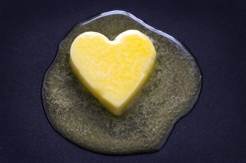 Corazón de mantequilla derritiéndose