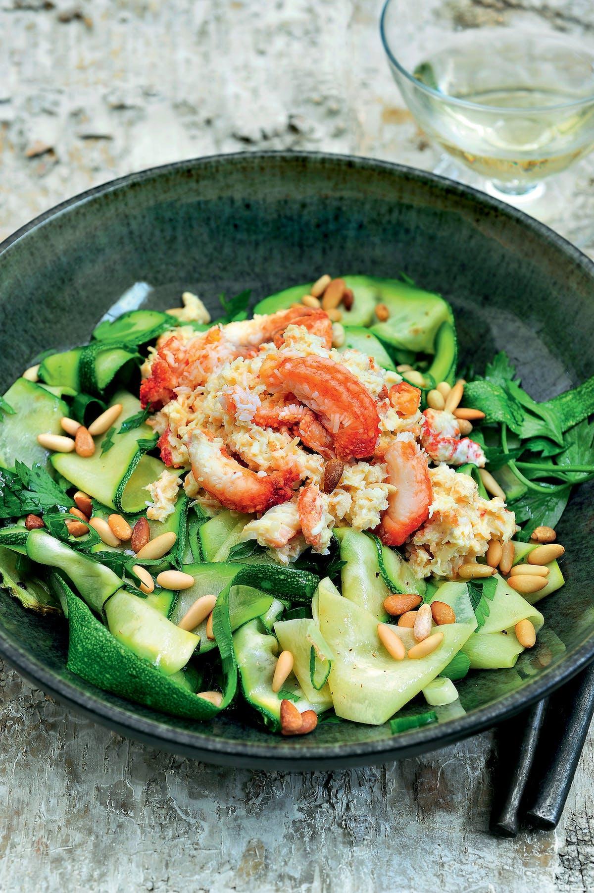Tallarines de calabacín con cangrejo