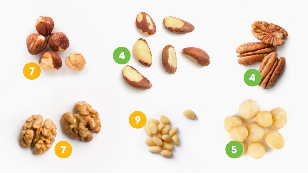 Frutos secos bajos en carbohidratos: los mejores y los peores