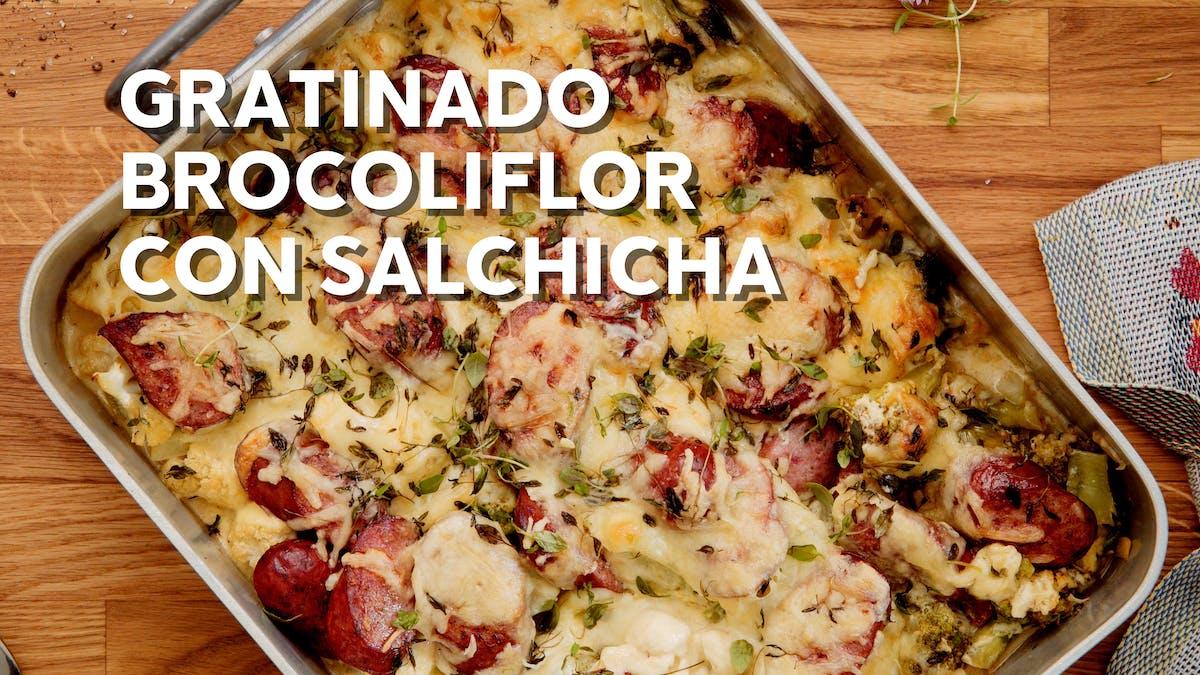 """Gratinado """"brocoliflor"""" con salchicha"""