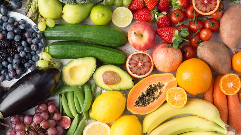 Rainbow fruits and vegetables, top view