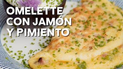 Omelette con jamón y pimiento