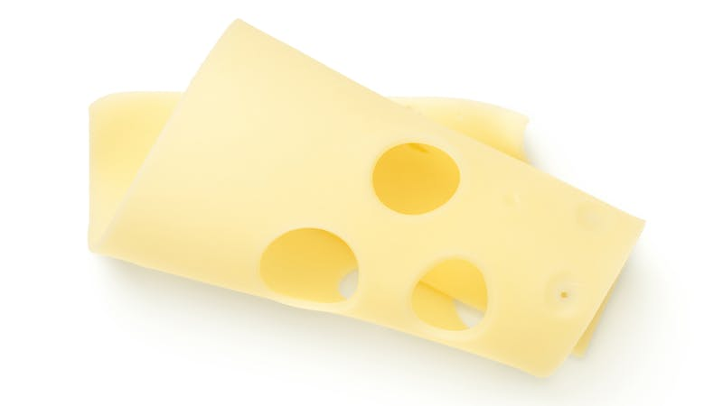 Emmentaler Cheese Slice Isolated On White Background