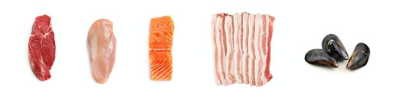 Carne y pescado crudos