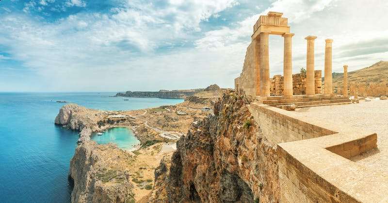 Famous tourist attraction – Acropolis of Lindos. Ancient architecture of Greece. Travel destinations of Rhodes island