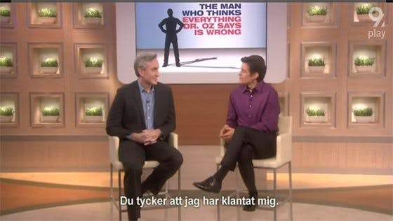 Gary Taubes hos dr Oz – på svenska