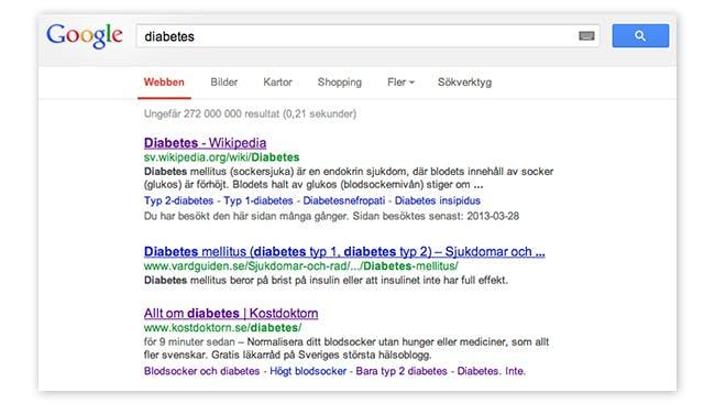 Diabetessidan redan på väg mot toppen