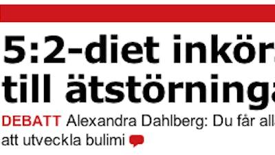 """""""5:2-diet inkörsport till ätstörningar"""""""