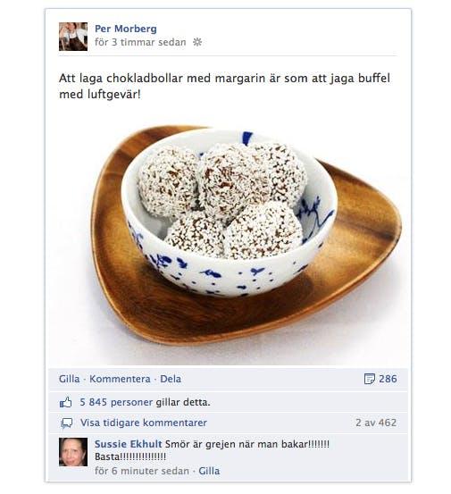 Per Morberg dissar margarin på Facebook