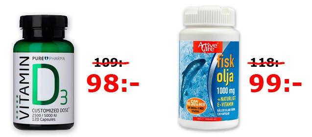 Kampanjpris på D-vitamin och Omega 3