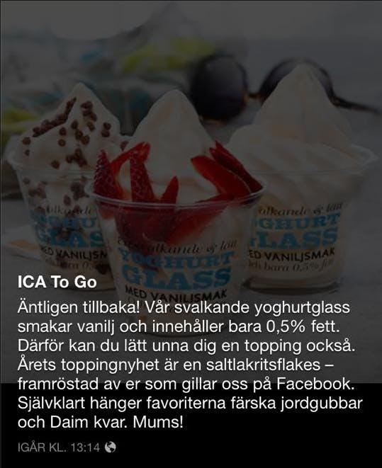 Fettsnål yoghurtglass á la 80-talet på ICA