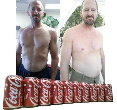 Före och efter 1 månad med Coca Cola