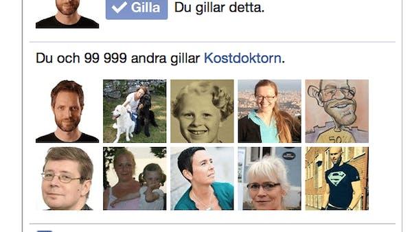 Nu gillar 100 000 Kostdoktorn på Facebook