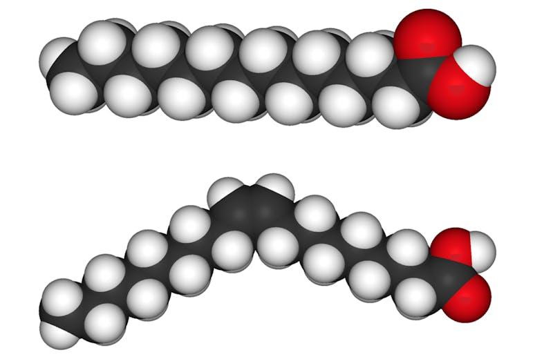 Molekylstruktur för mättat fett (överst) och omättat fett (under)