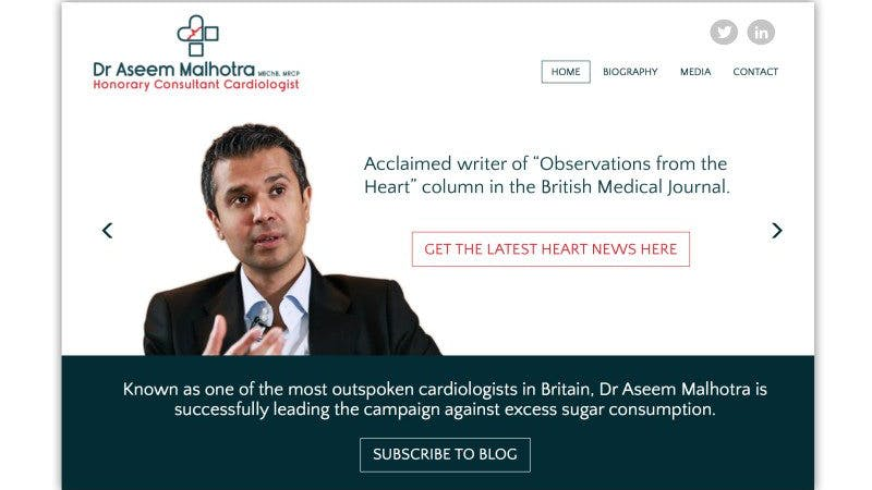 Ledande antisocker-kämpen dr Aseem Malhotra har en ny hemsida och blogg