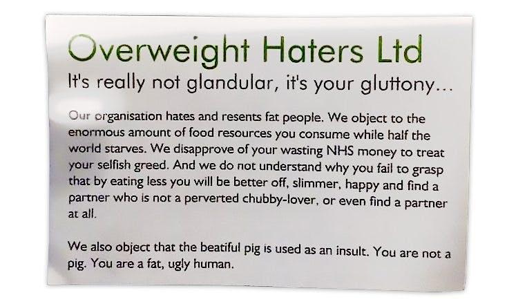 Overweight Haters Ltd: Fördomar av det värsta slaget