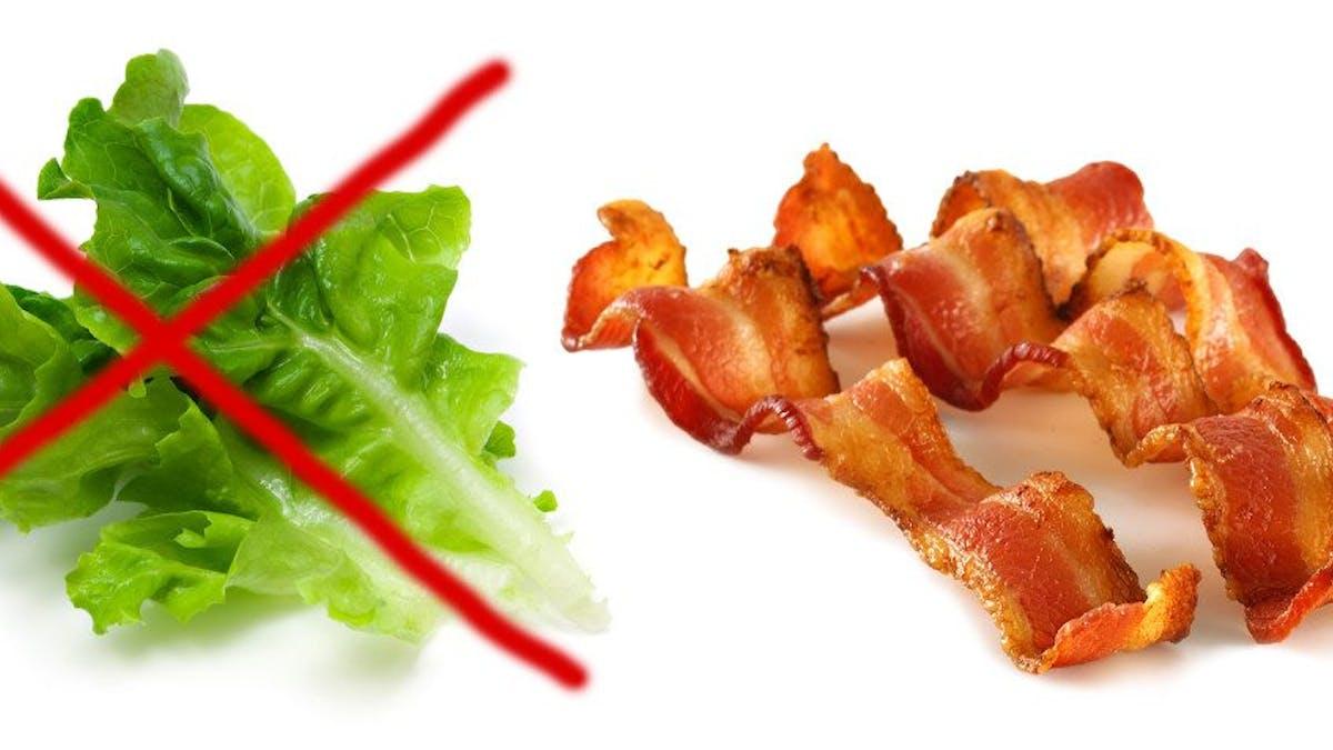 Sallad tre gånger sämre för klimatet än bacon