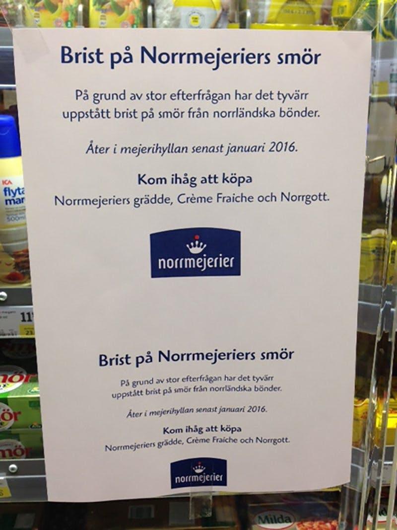 Smörbrist i Norrland