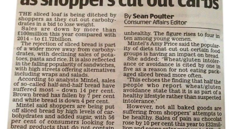 Försäljningen av bröd sjunker –och var tredje britt ser bröd som onyttigt