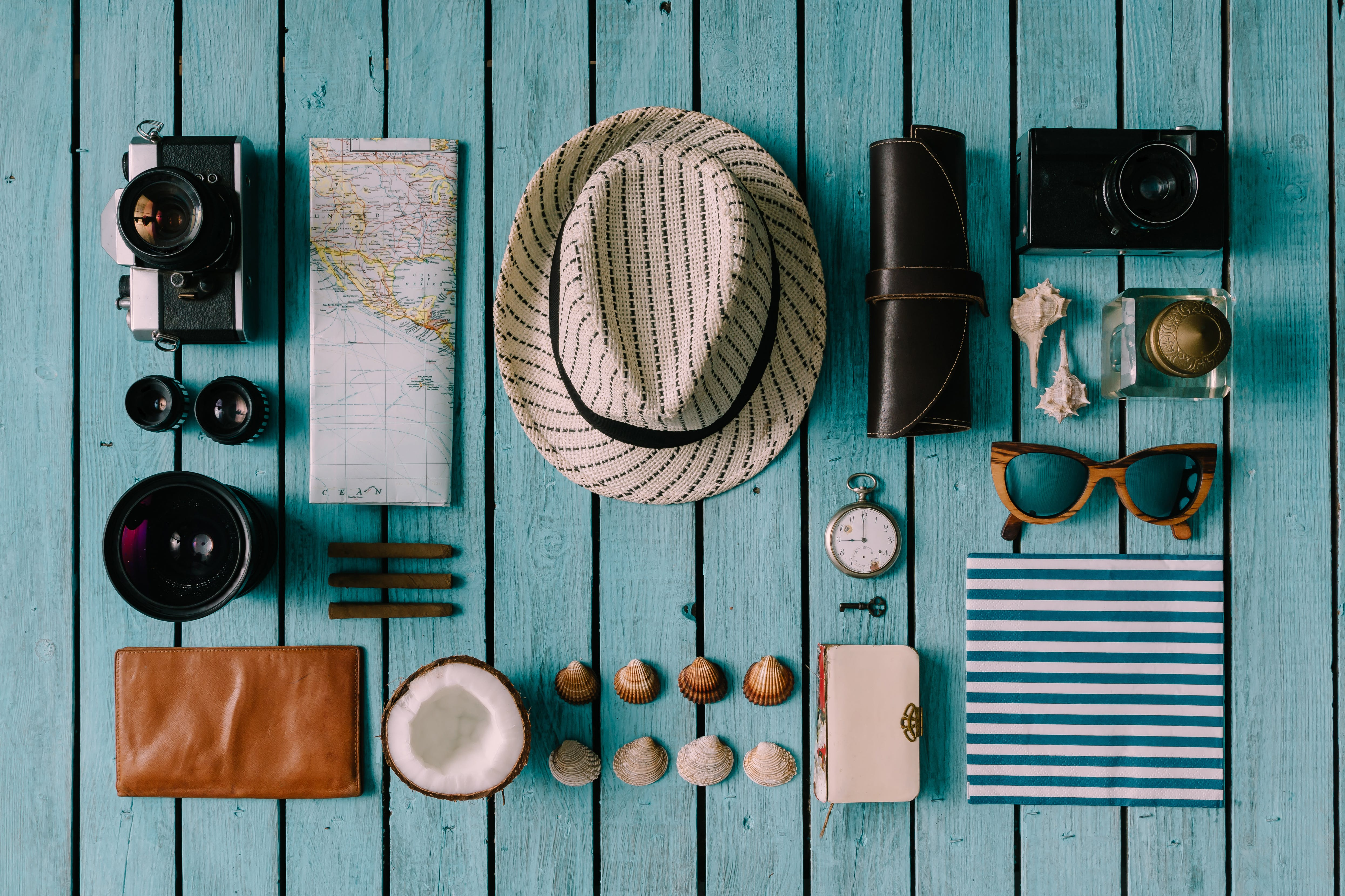 Summer vacation things neatly organised