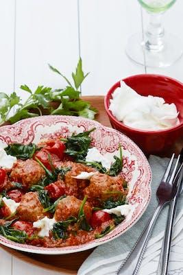Italienska köttbullar med mozzarella<br />(Middag)