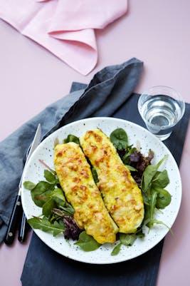 Fylld zucchini med currykyckling