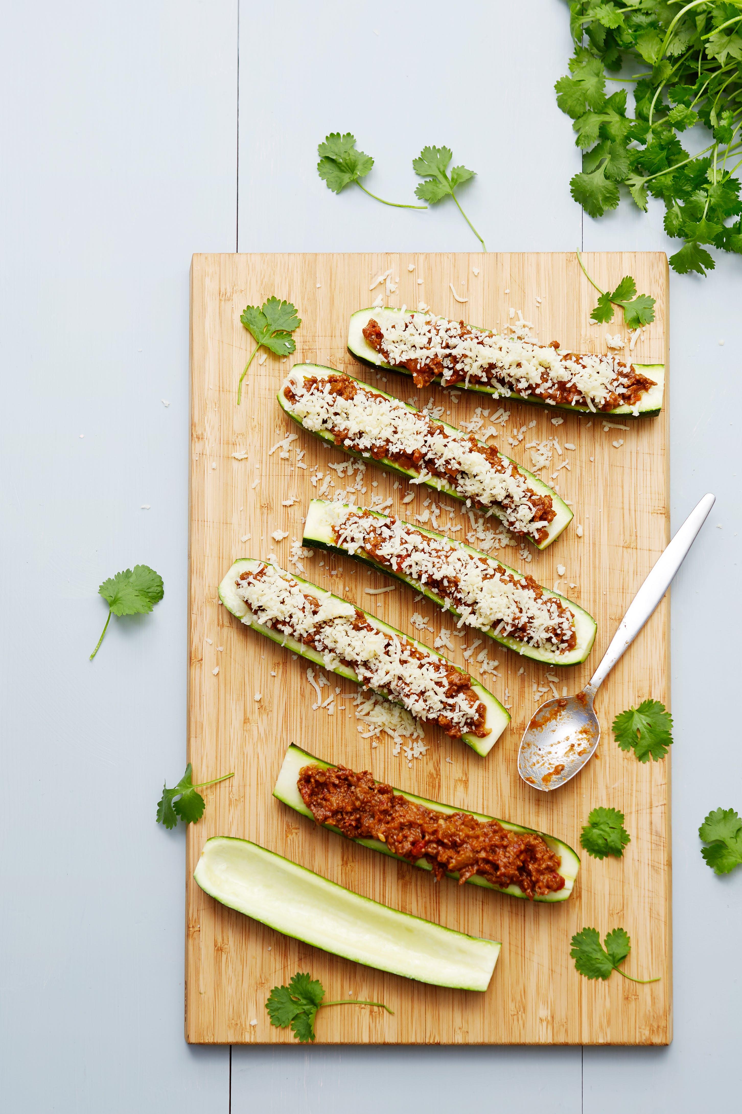 Tacofärsfylld zucchini